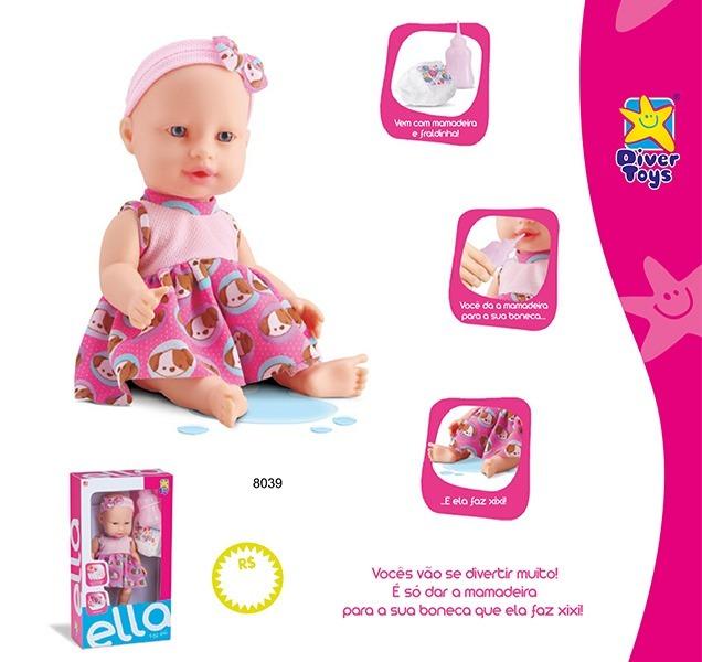 663287e29c Boneca Faz Xixi Com Bico Mamadeira Fralda Brinquedo Meninap - R  54 ...