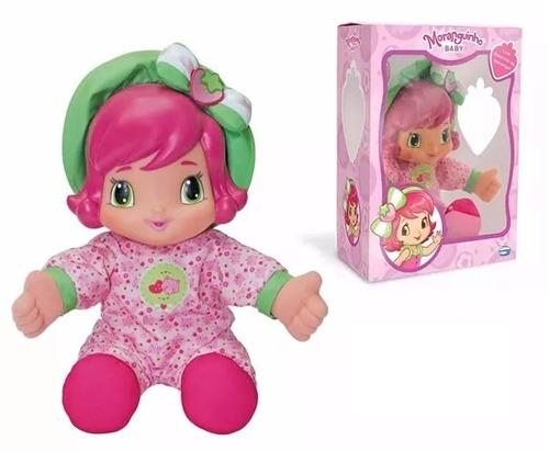 boneca grande moranguinho baby 33 cm com cheiro de morango