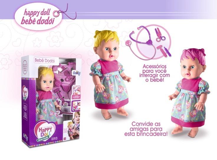 8481971b42 Boneca Happy Doll Dodoi Novatoys Frete Grátis - R  99