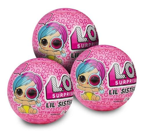 boneca lol lil sister eye spy - 5 surpresas (kit com 3)