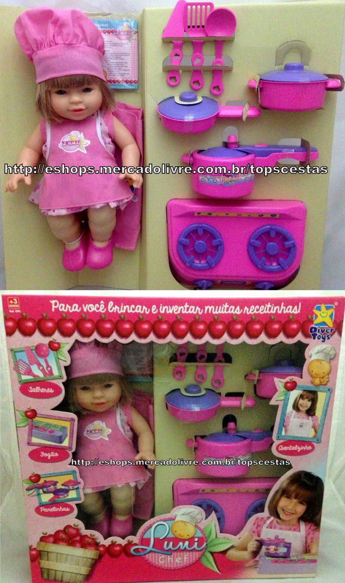 Boneca Luni Chef Com Acess Rios Cozinha Infantil Divertoys R  ~ Mercado Livre Cozinha Infantil