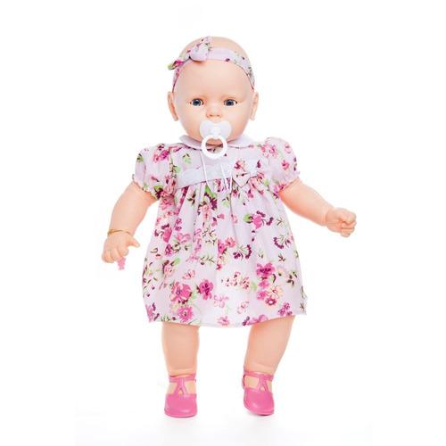boneca meu bebê bebezão 50 cm chupeta vestido rosa estrela