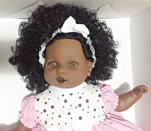 Boneca Negra Bebe Baby G Cabelo Angelina Fala 62 Frases