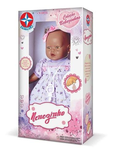boneca nenezinho negro vestido lilas estrela 44 cm bonellihq
