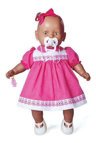 boneca nenezinho negro vestido rosa estrela 44 cm bonellihq