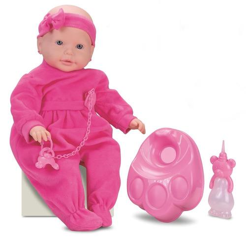 boneca new bebe mania xixi c/ mamadeira e troninho - roma