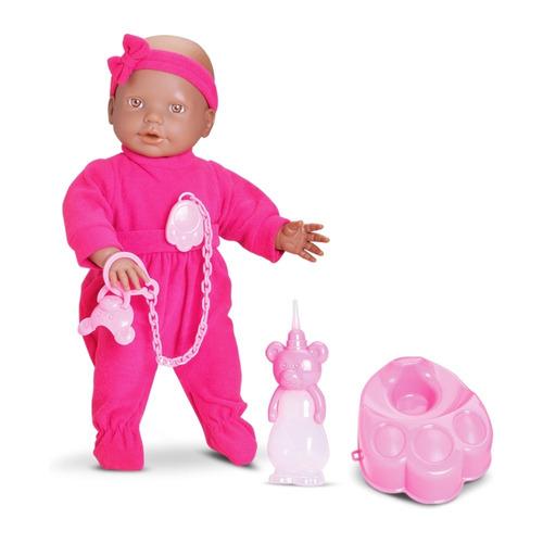 boneca new bebe mania xixi negra mamadeira e troninho - roma
