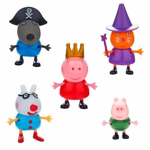 boneca peppa pig e sua turma - conjunto com 5 bonecos - dtc