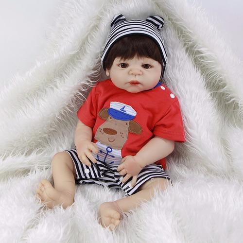 boneca reborn bebe toda em vinil siliconado menino grande 57