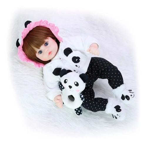 boneca reborn menina corpo de pano pandinha 48cm promoção