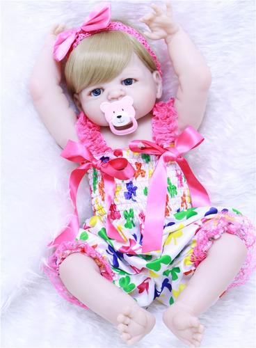 boneca reborn olhos azuis pode dar banho loira victoria 55cm