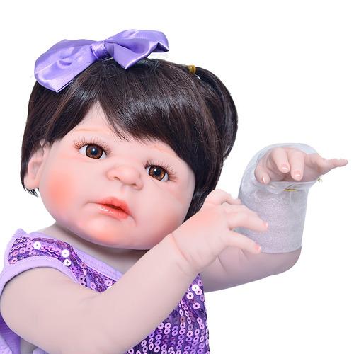 boneca reborn pode dar banho toda vinil siliconado victoria