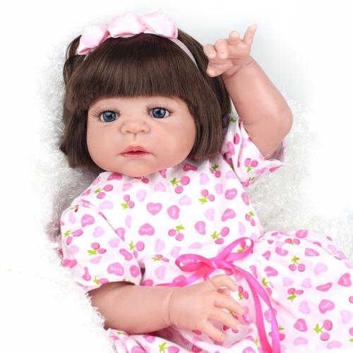 boneca reborn realista toda vinil siliconado victoria 55cm