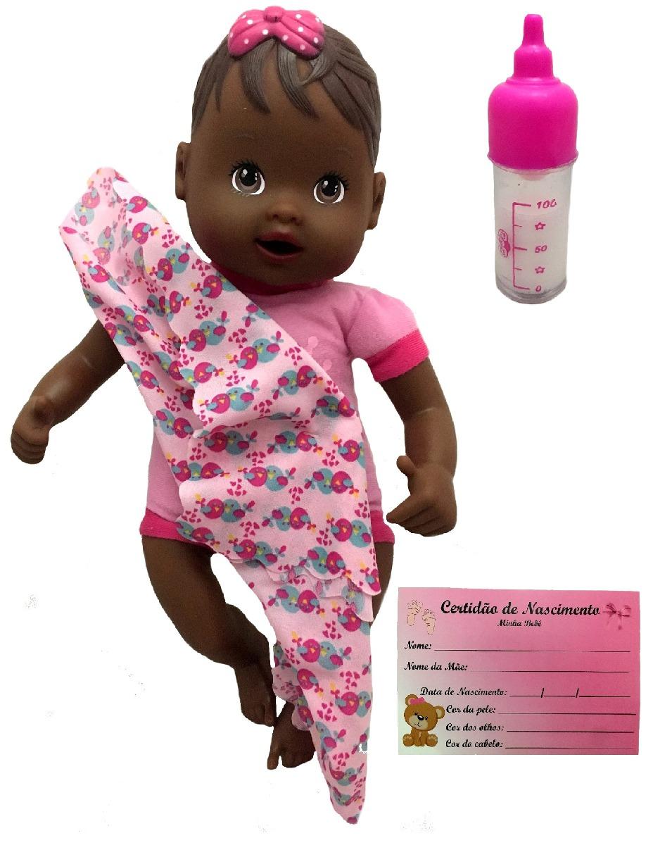 0f4f852bd boneca recém nascida negra mamadeira e certidão - divertoys. Carregando  zoom.