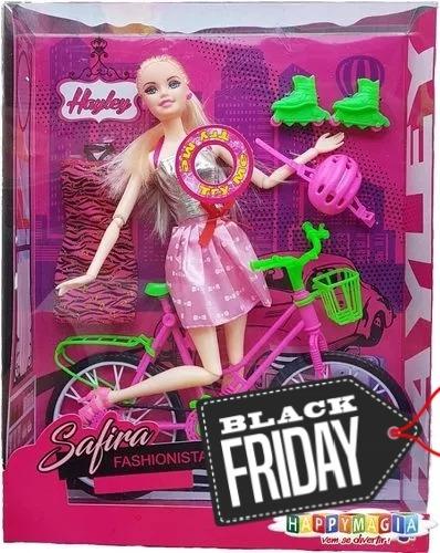 boneca safira hayley musical articulada 30cm com bicicleta