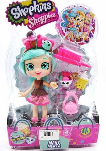 boneca shopkins shoppies mary menta + 2 shopkins dtc