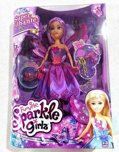 boneca sparkle girlz fada com acessórios vestido roxo dtc