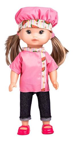 boneca zoe confeiteira com acessórios de cozinha