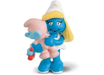 boneco alemao schleich 20192 smurfs smurfette c/ bebe smurf