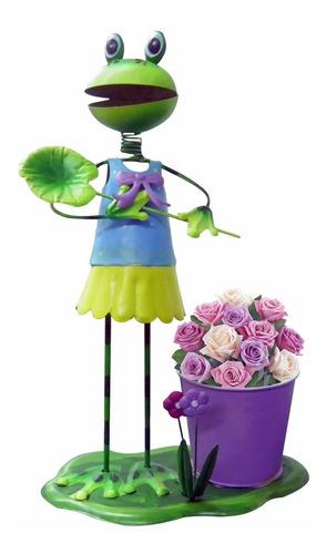 boneco de ferro decoraçao enfeite sapo flores jardim