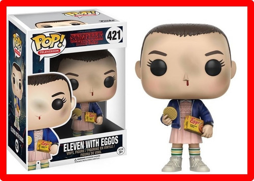 boneco funko eleven with eggos stranger things 421 na caixa