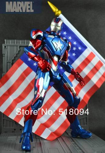 boneco homem de ferro versão patriota de ferro pvc 20cm