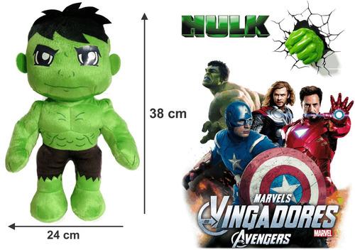 boneco hulk em pelúcia antialérgica 38 cm altura promoção!
