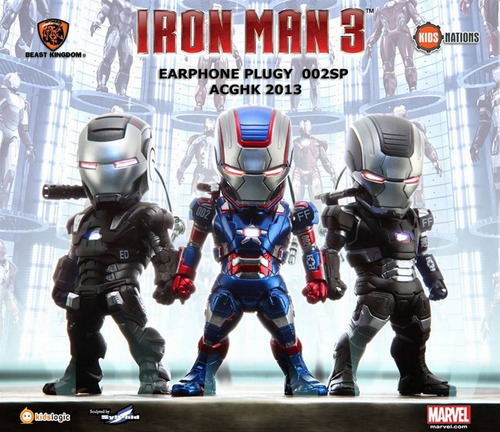 boneco iron man 3 (pacote com 3) led earphone plugy #453751