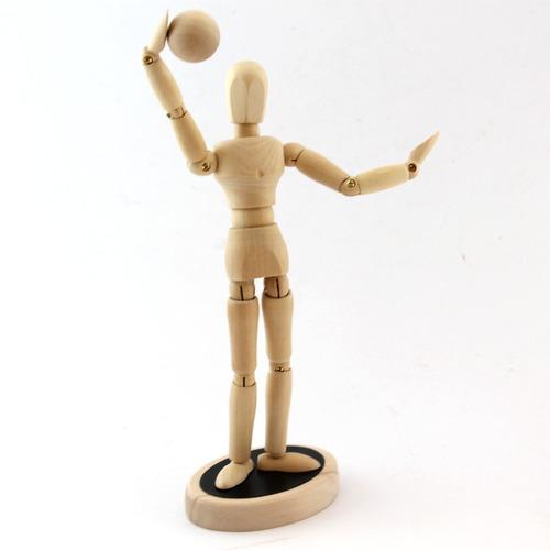 boneco manequim articulado 30cm vintage cinza