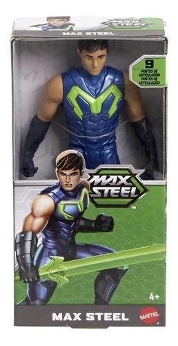 boneco max steel 15cm - figura turbo 9 articulações - mattel
