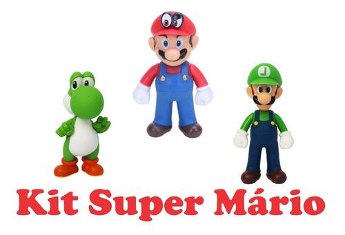 boneco super mario word: mario luigi yoshi kit 3 peças 12 cm