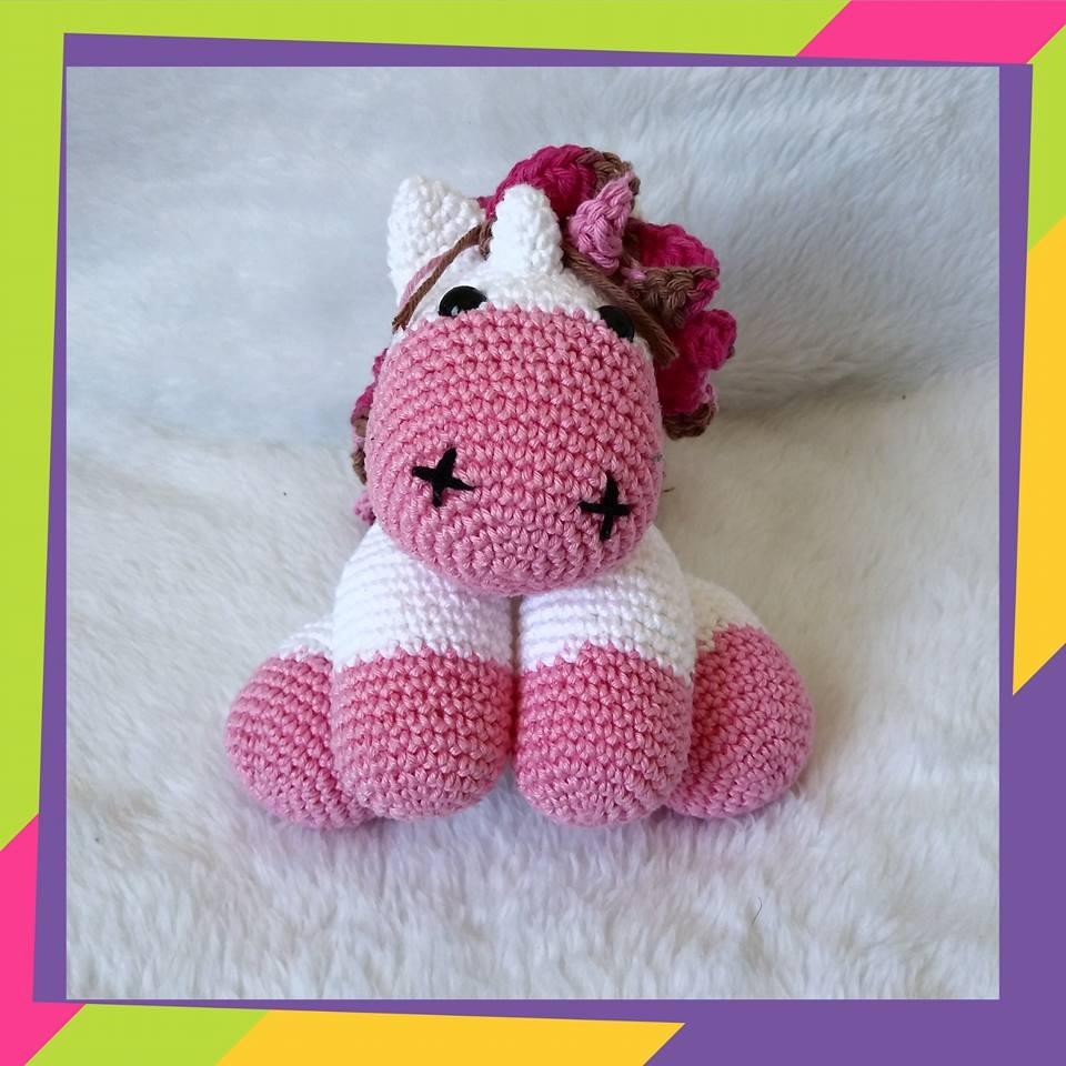 Pink Unicorn Plush Crochet Stuffed Animal Amigurumi Toy Baby ... | 960x960