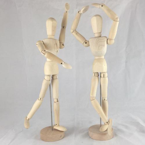 bonecos articulados de madeira 30cm combo com 04 unidades