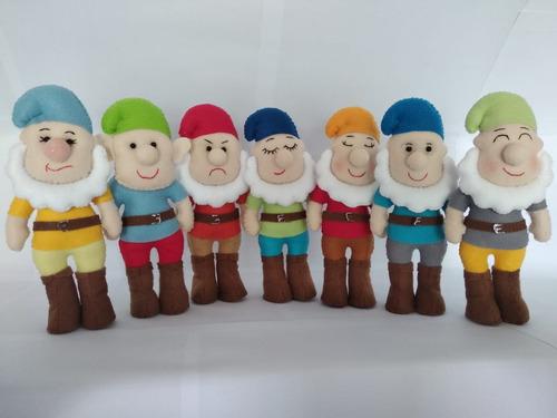 bonecos branca de neve os 7 anões e príncipe em feltro 9und.