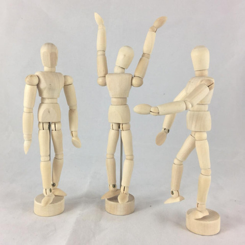 bonecos de madeira articulados 16cm combo com 05 unidades
