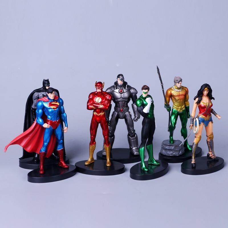 """7Pcs Dc Liga Da Justiça Brinquedo Boneco De Ação 7/"""" Super Homem//Batman//Flash//Mulher Maravilha"""