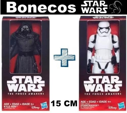bonecos star wars 15 cm - kylo ren + stormtrooper