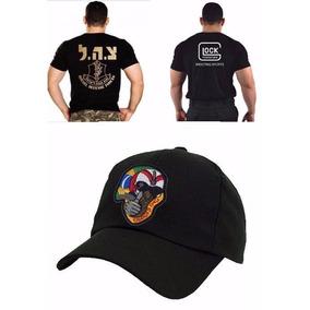 d3e9c1b5f45d4 Boné Boné Piloto + Camiseta Glock Bordada + Camiseta Israel