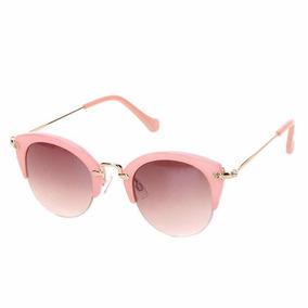 0206c86996a03 Oculos De Sol Feminino Gatinho Redondo Rosa E Dourado Verao