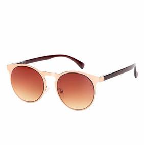 78bee239e9b93 Oculos De Sol King One Escuro Unissex Marrom Dourado Redondo