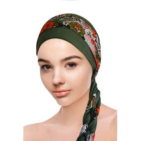 892525dea5503 Turbante Verde Musgo+ Faixa Flores  Tratamento Quimioterapia