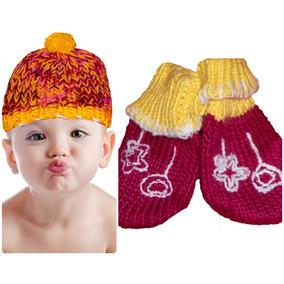 c376f349df80e Conjunto Infantil Gorro De Lã E Luvas Sem Dedos 2 A 4 Anos