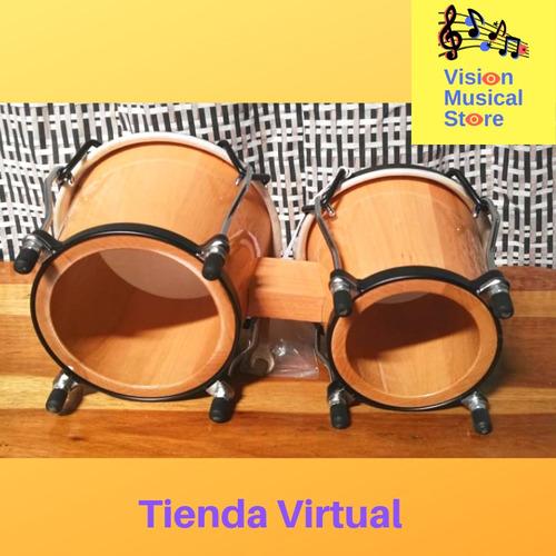 bongo  6''y 7'' color madera marca cp de lp estuche incluido