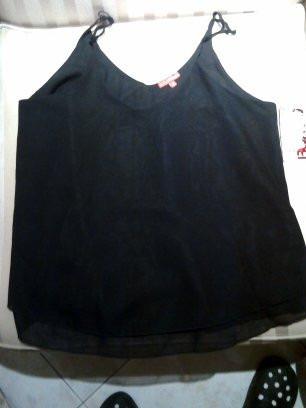 bongo blusa de tirantes color negro talla grande nuevo