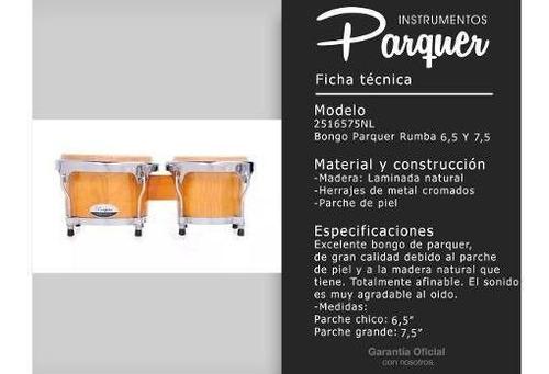 bongo madera parquer rumba 6,5 7,5 parche piel herraje metal