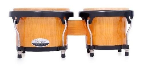 bongos parquer custom madera natural aro negro 7 y 8.5 c