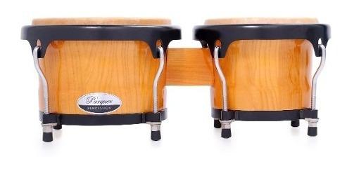 bongos parquer custom madera natural aro negro 7 y 8.5 cuota