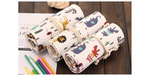 bonito bolso organizador de lápices zoo drawing, enroscable