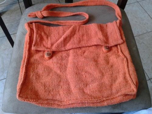 bonito bolso tejido hippie naranjo unisex usado buen estado