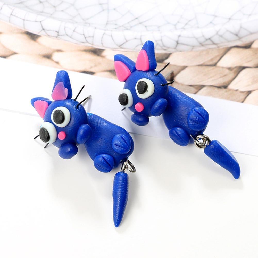 Bonito Desenho Animado Azul Gato Pendurado Brincos Criativo R 51 67 Em Mercado Livre